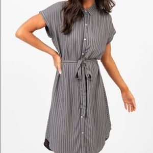 Shirt Dress Cuff Sleeve Gray/Navy Stripe